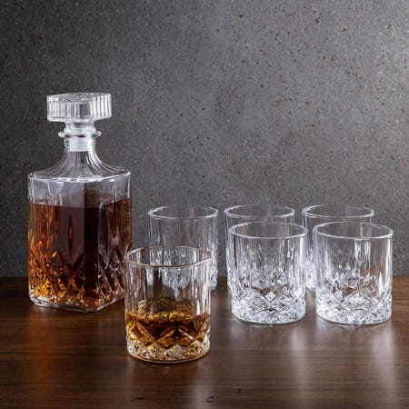 1098_Godinger_Exquisite_'Diamond'_Whiskey_Decanter_Combo___Set_of_7