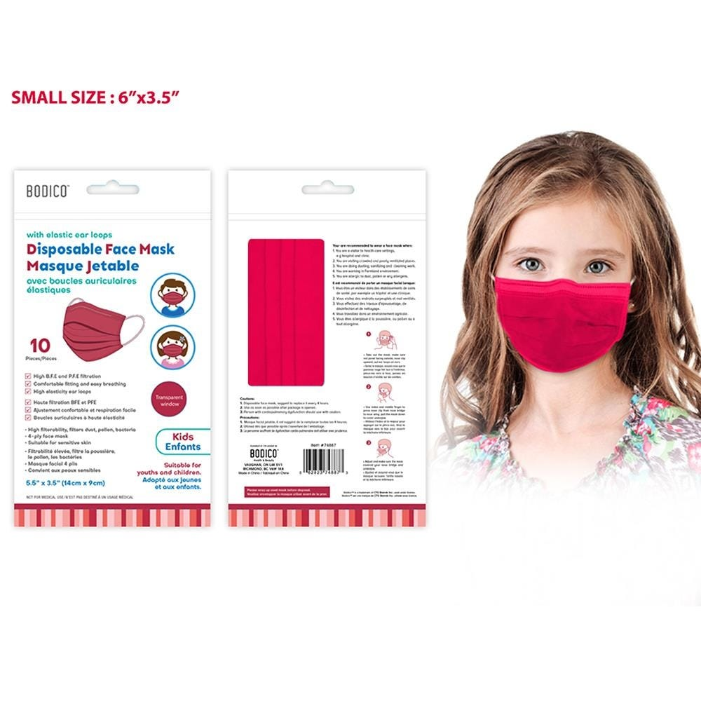 1229_Bodico_Ppe_'4_Ply'_Disposable_Face_Mask___Set_of_10__Red