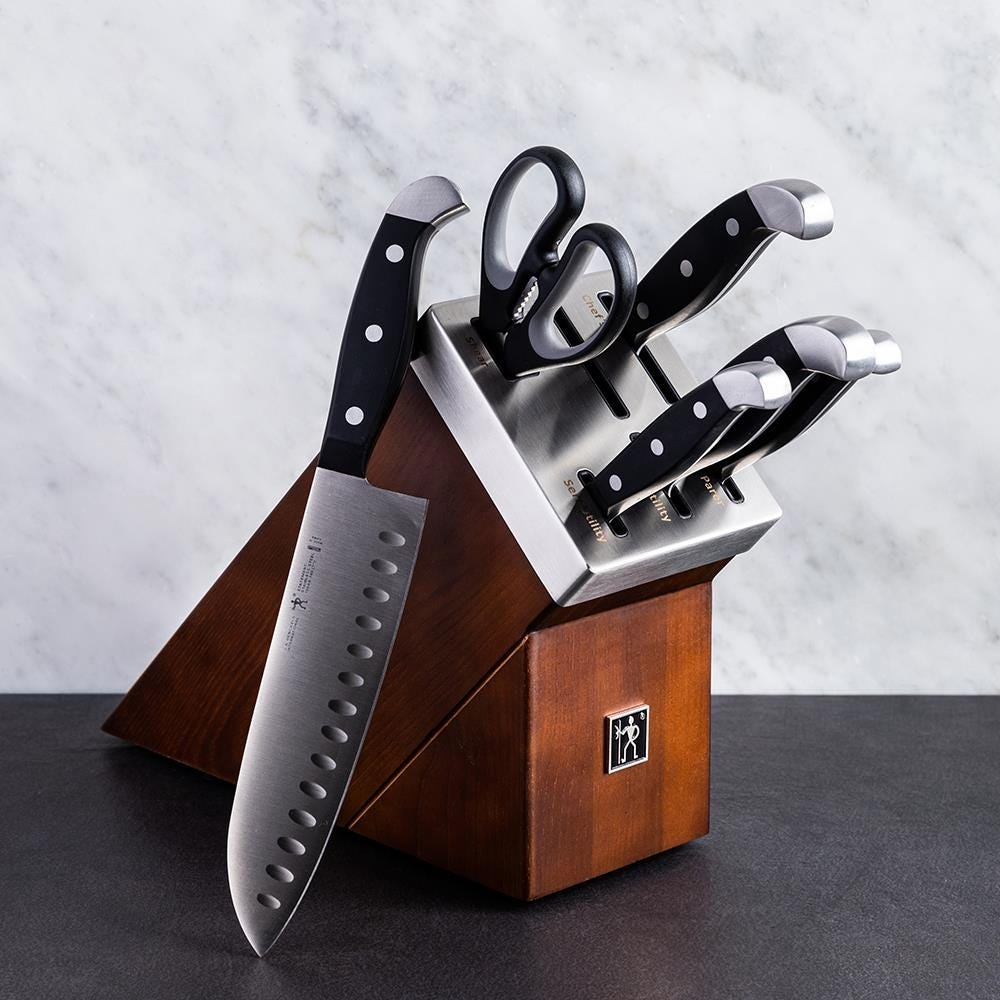 henckels statement self-sharpening wood knife block combo
