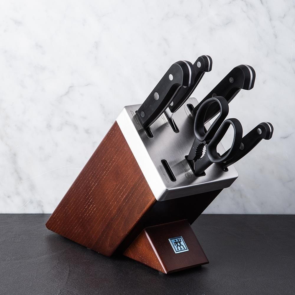 zwilling gourmet self-sharpening wood knife block combo