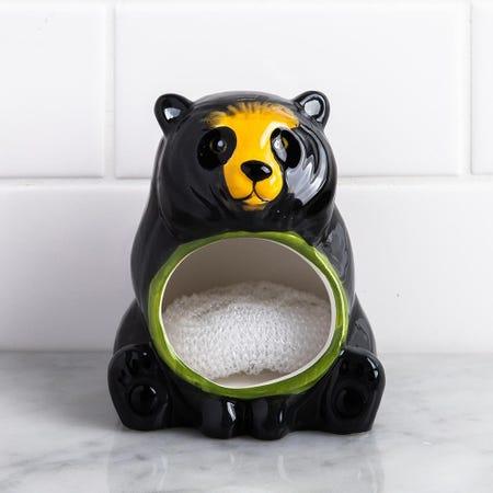 1362_Boston_Warehouse_Flea_Market_'Black_Bear'_Ceramic_Scrubby_Holder