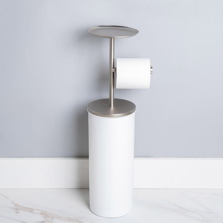 Umbra Portaloo White Nickel Toilet Paper Reserve Holder