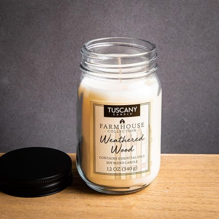 1394_Tuscany_Farmhouse_Soy_Blend_'Weathered_Wood'_Glass_Jar_Candle