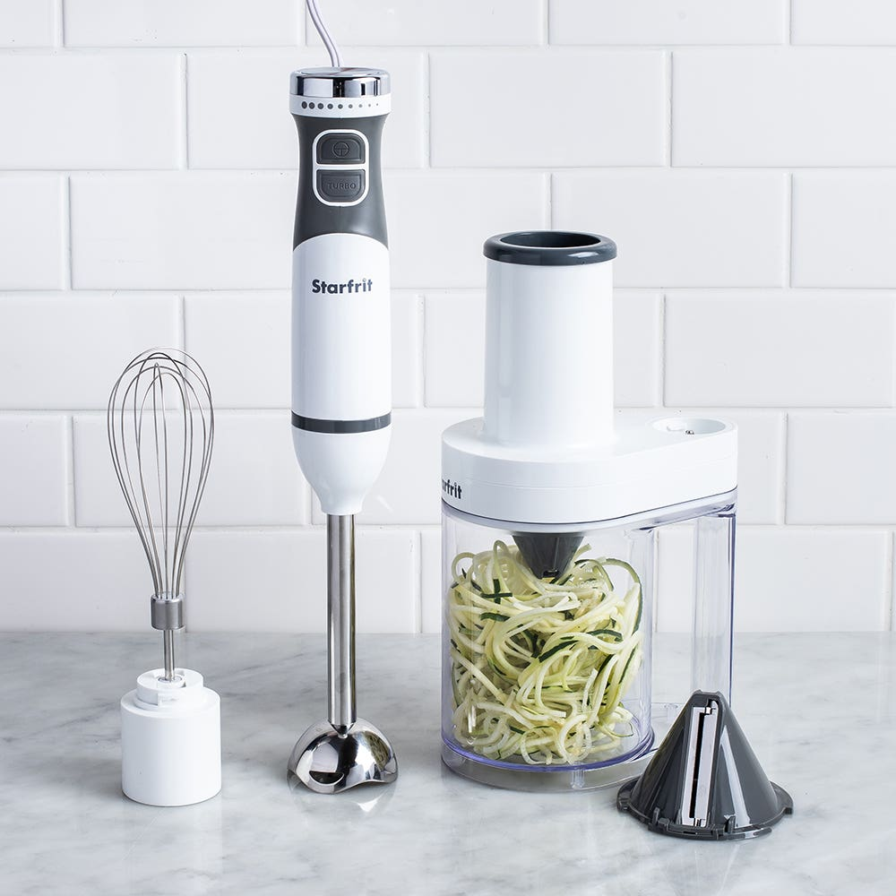 Starfrit 4-In-1 Immersion Blender with Spiralizer (White)