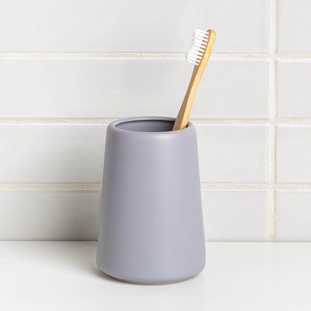 Moda At Home Anitra Ceramic Tooth Brush Holder (Light Grey)