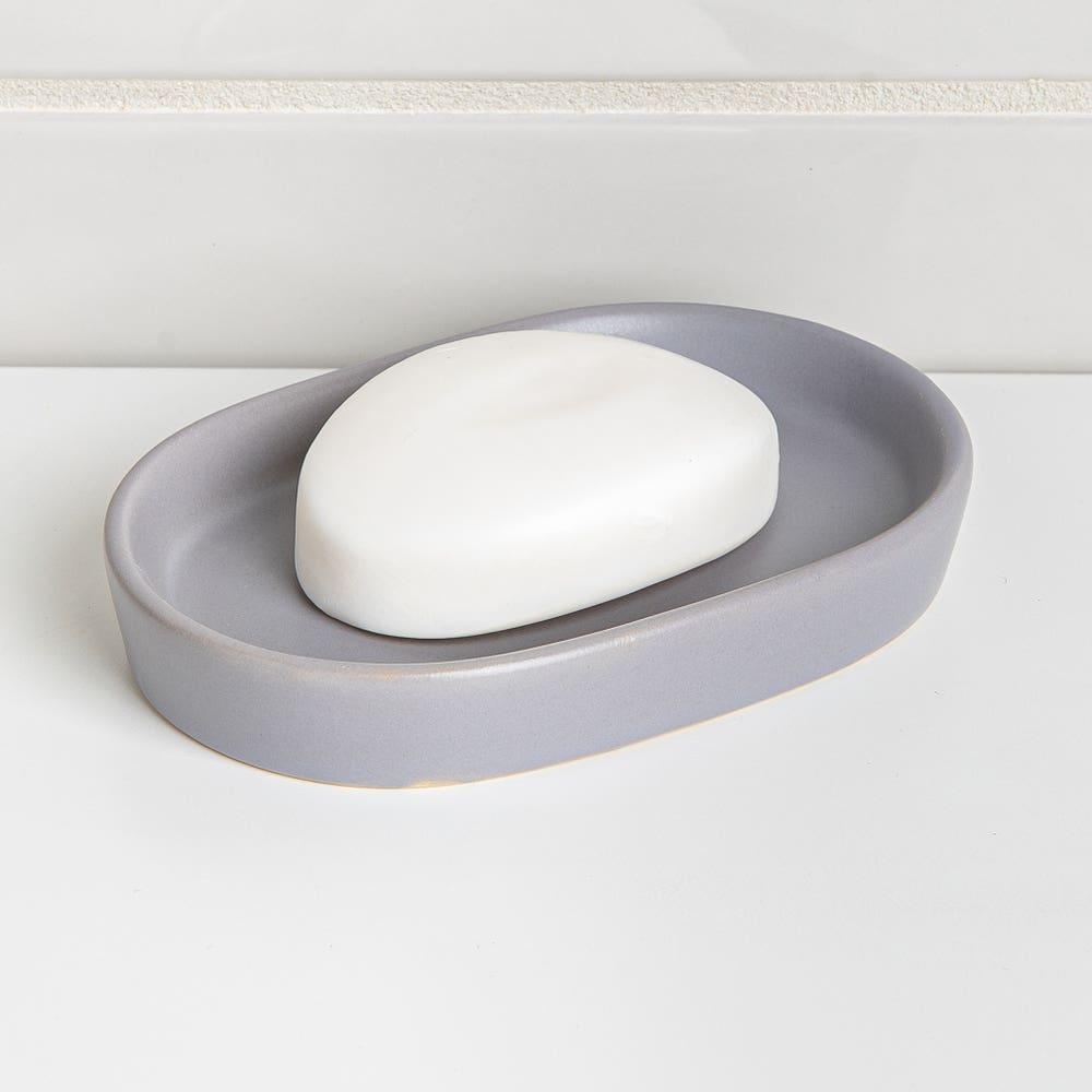 Moda At Home Anitra Ceramic Soap Dish (Light Grey)