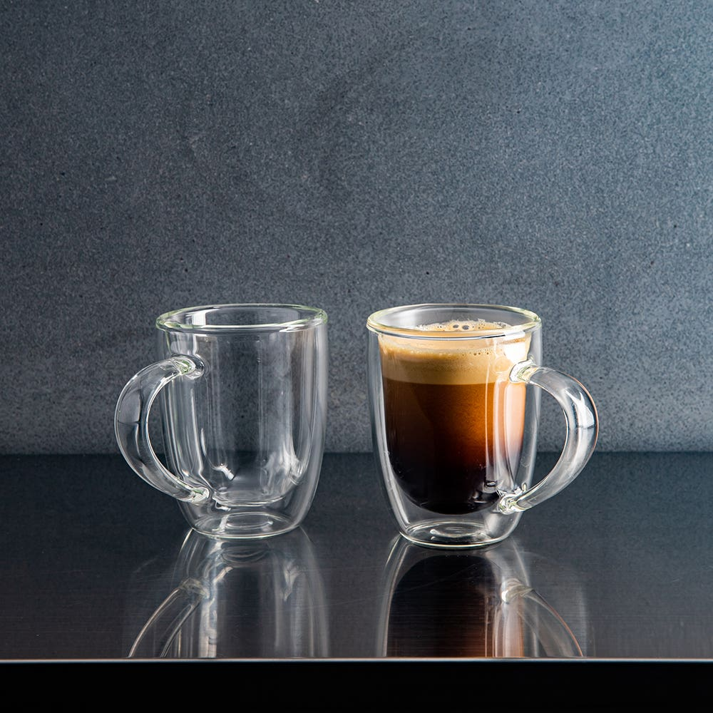 KSP Milano Double Wall Espresso Glass with Handle - 80 ml, Set of 2