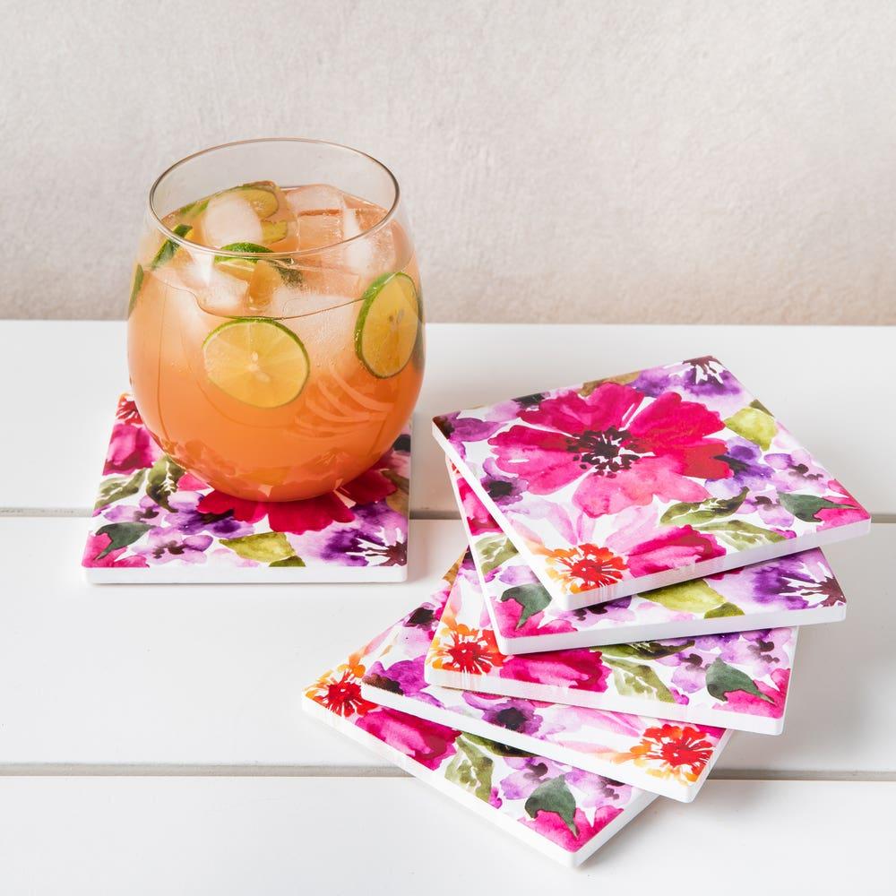 Harman Ceramic 'Spring Floral' Printed Coaster - Set of 6 (Pink)