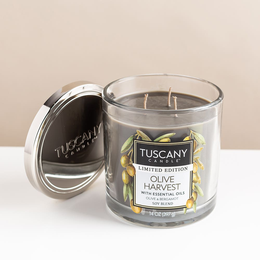 Empire Tuscany 3-Wick 'Olive Harvest' Glass Jar Candle