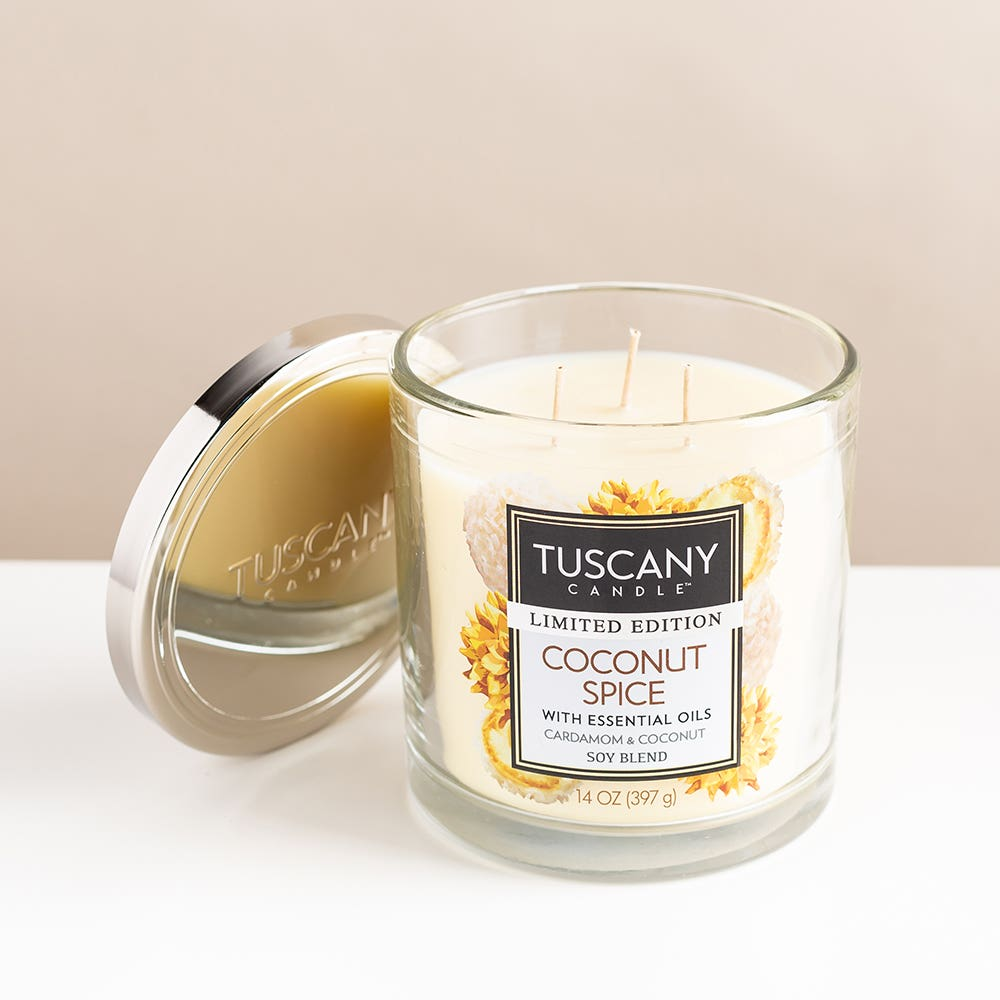 Empire Tuscany 3-Wick 'Coconut Spice' Glass Jar Candle
