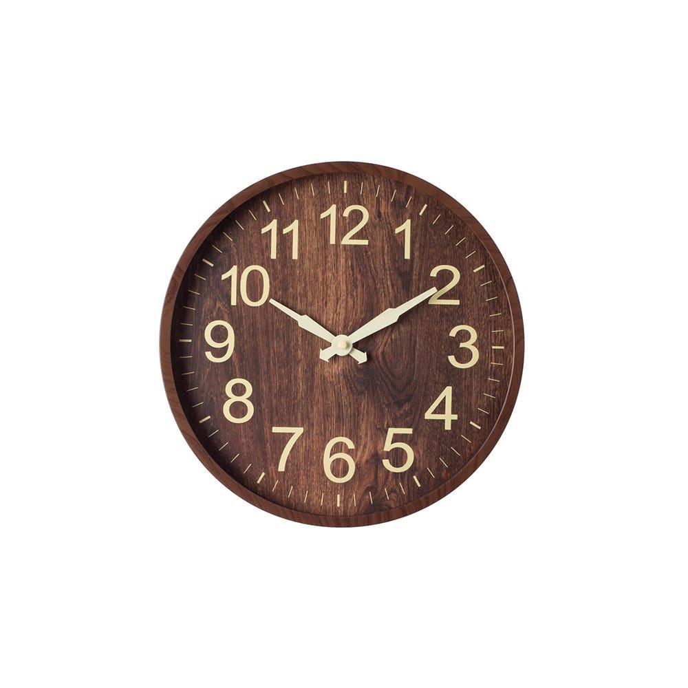 Wall Clock 12 Woodgrain Dark