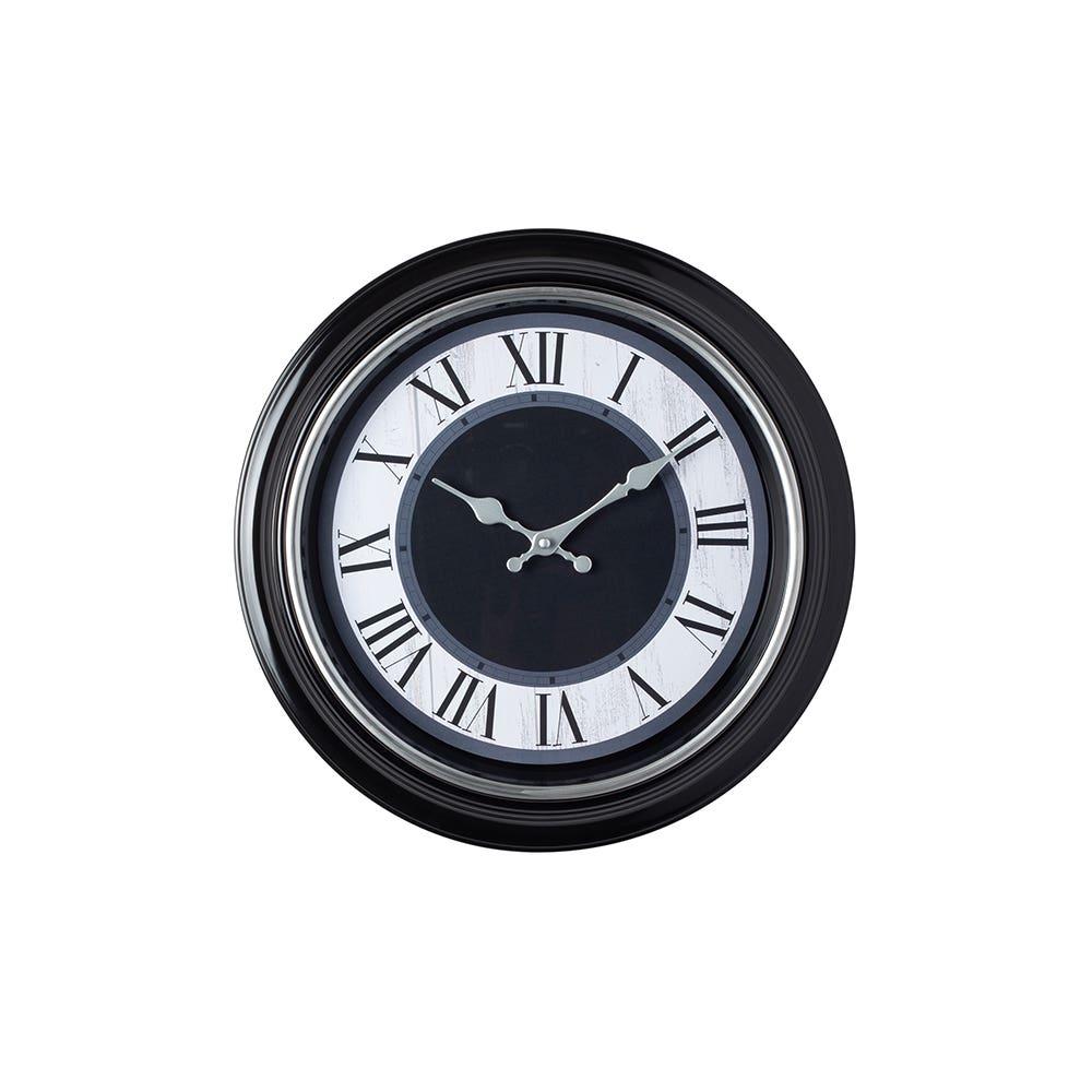 Wall Clock 16 Lisbon Blk Slvr