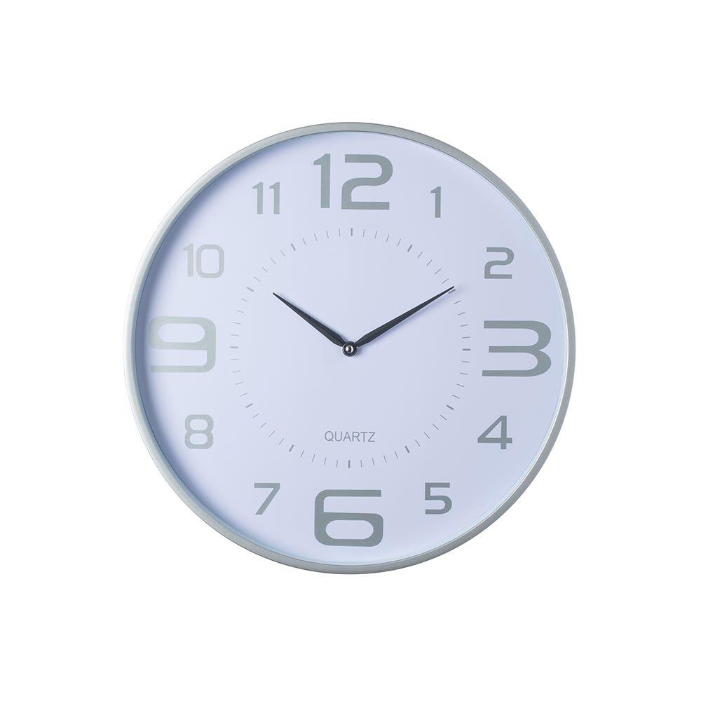 Wall Clock 18 Austin Slvr Wht