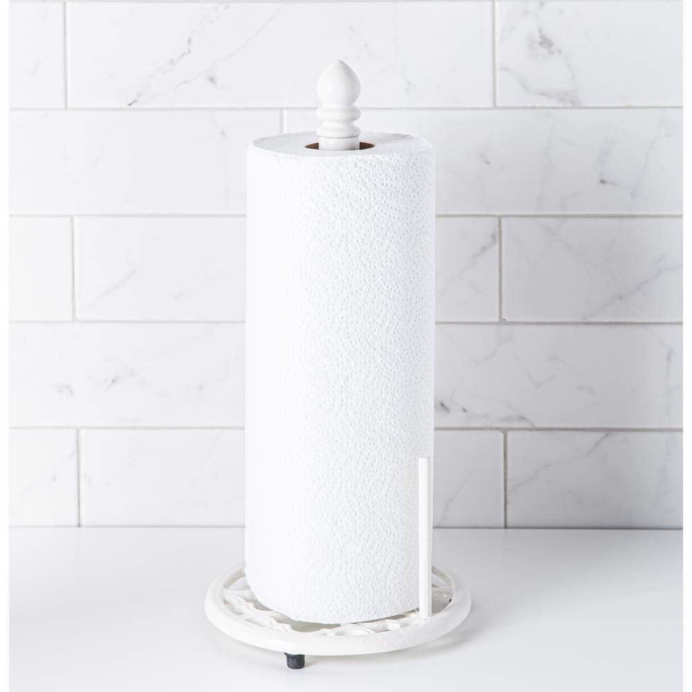 Home Basics Cast Iron 'Lattice' Upright Paper Towel Holder (White)