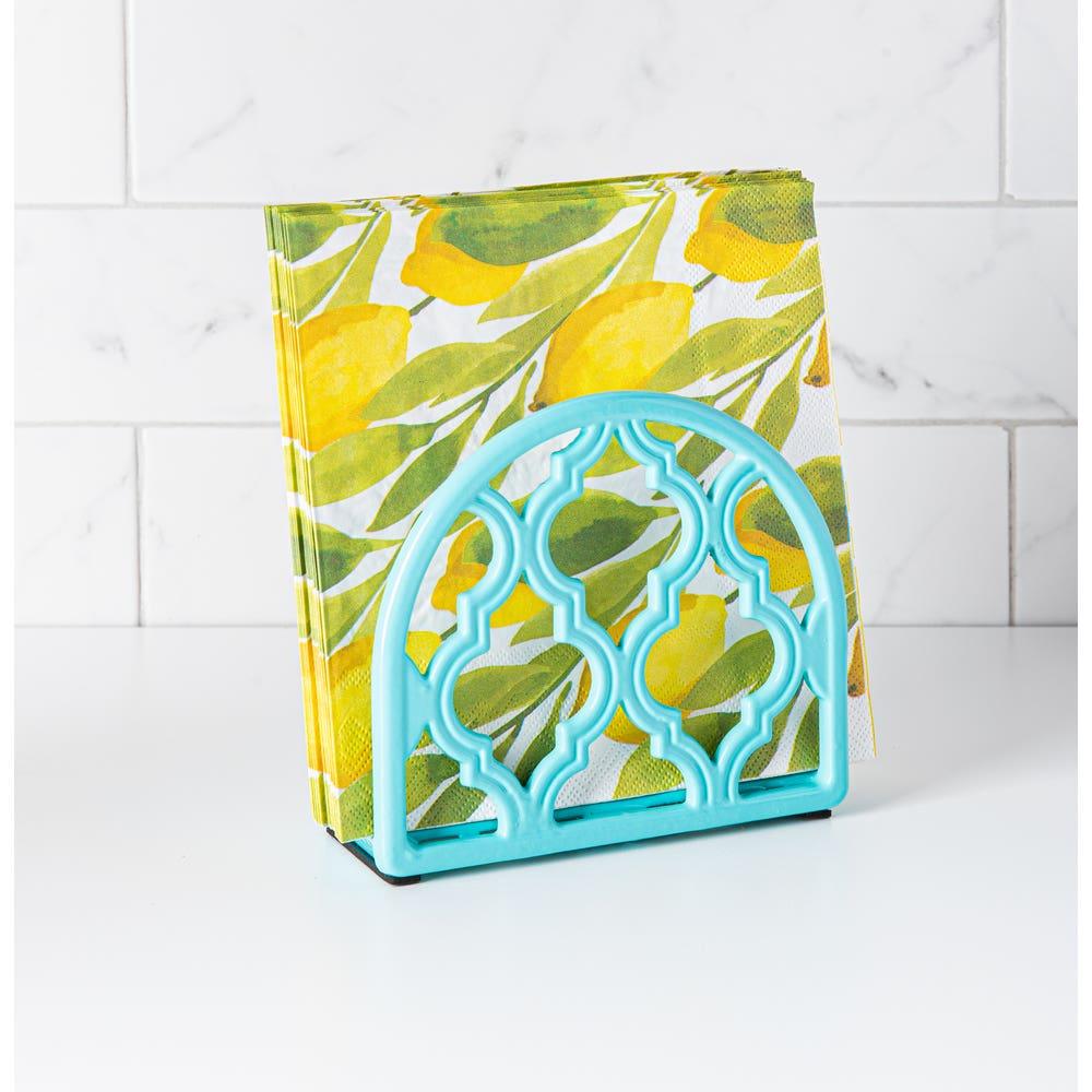 Home Basics Cast Iron 'Lattice' Napkin Holder (Turquoise)