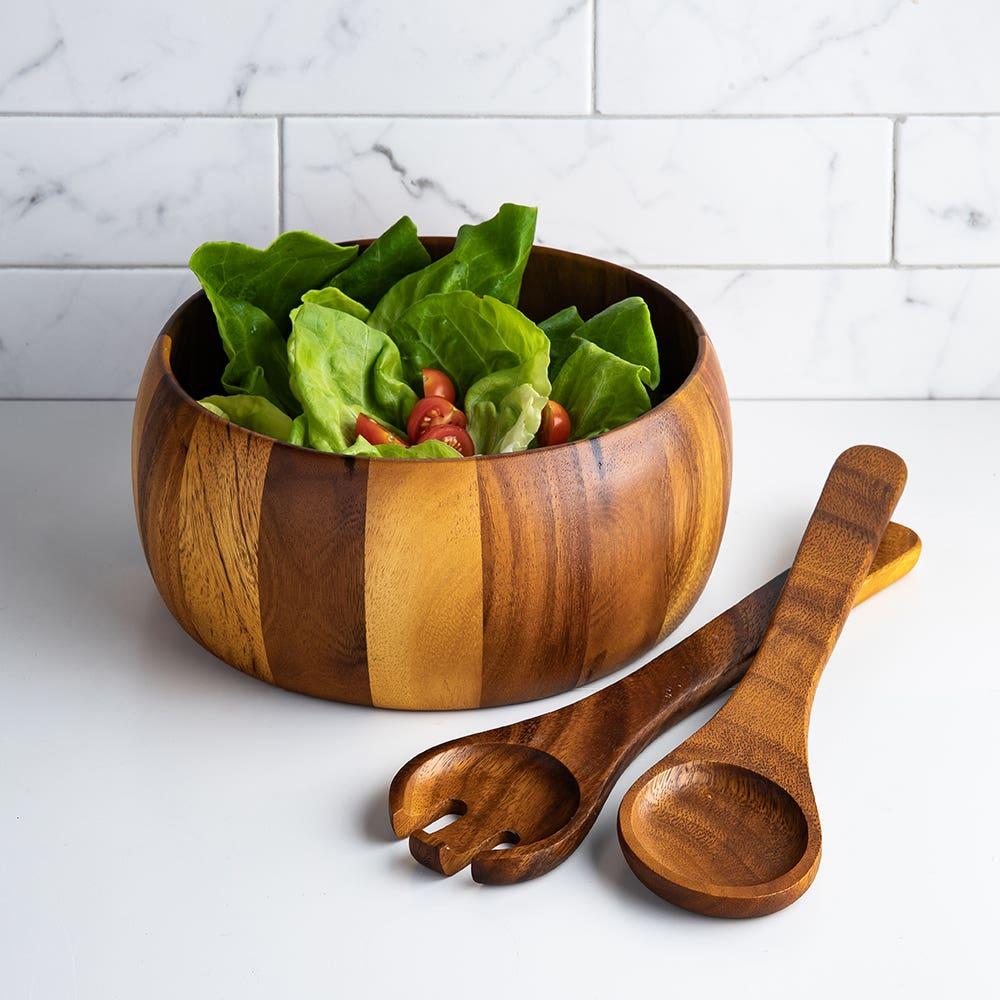 Gibson Laurel Acacia Wood Salad Bowl Combo - Set of 3 (Brown)