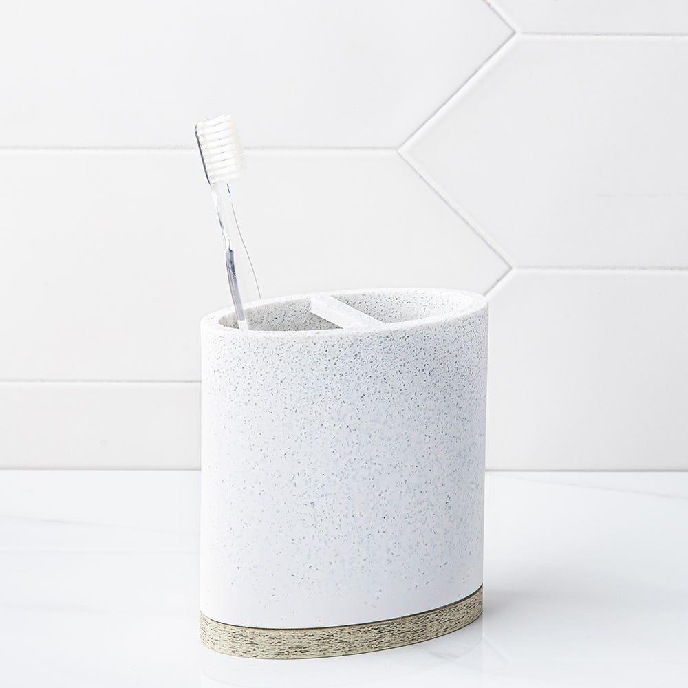 Moda At Home Hudson Resin Toothbrush Holder (Light Grey)
