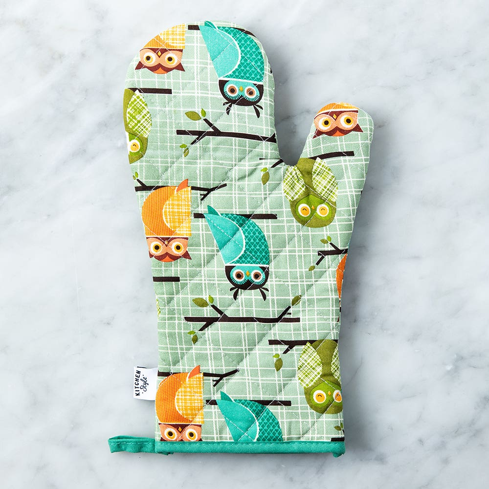 Kitchen Style Printed 'Owls' Oven Mitt (Green)