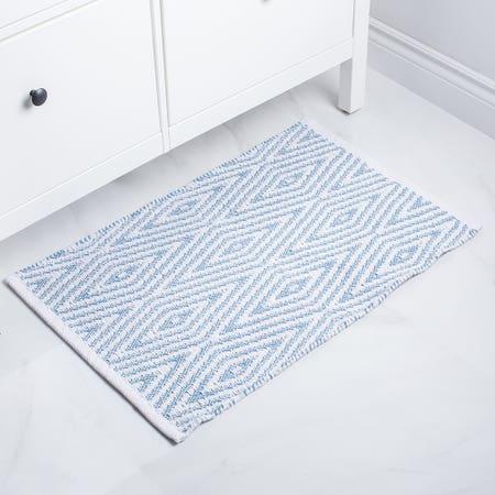 Bathmat Oxford 20X32 Blue Wht