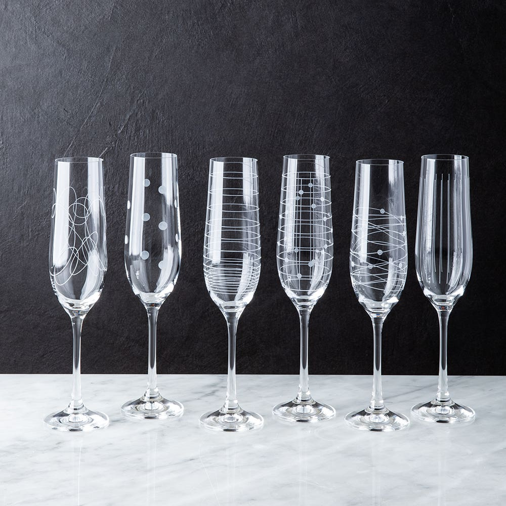 Bohemia Elements Lead-Free Crystal Champagne Flute - Set of 6