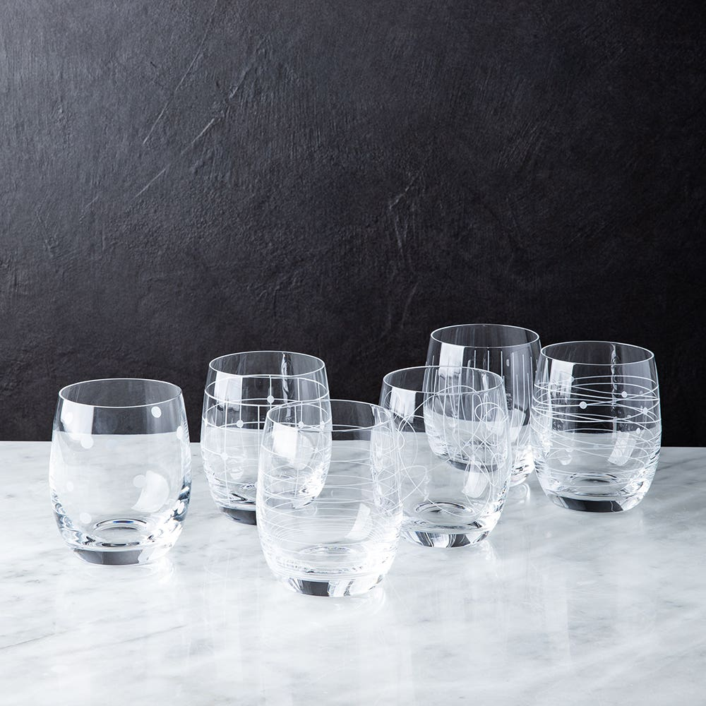 Bohemia Elements Lead-Free Crystal Stemless Glass - Set of 6