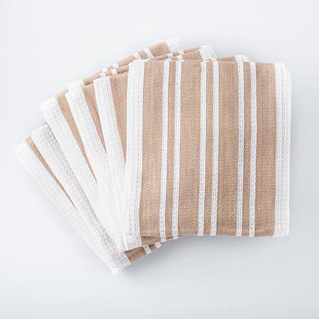 H Stripe K Towel S 8 Taupe