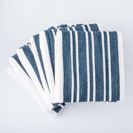 H Stripe K Towel S 8 Navy