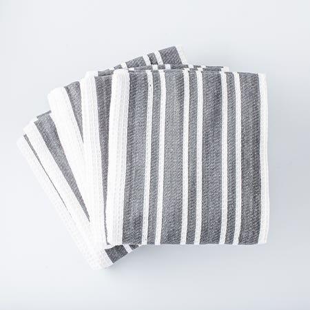 H Stripe K Towel S 8 Charcoal