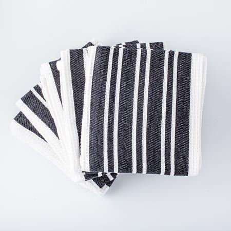 H Stripe K Towel S 8 Black
