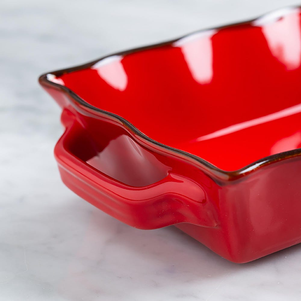 70676_KSP_Tuscana_Small_Rectangle_Fluted_Bakeware_with_Handle__Red
