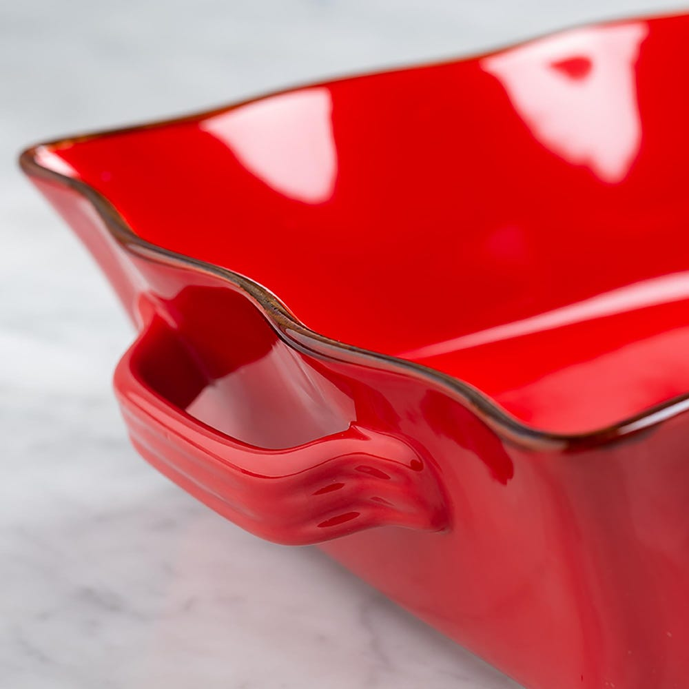 70684_KSP_Tuscana_Large_Rectangle_Fluted_Bakeware_with_Handle__Red