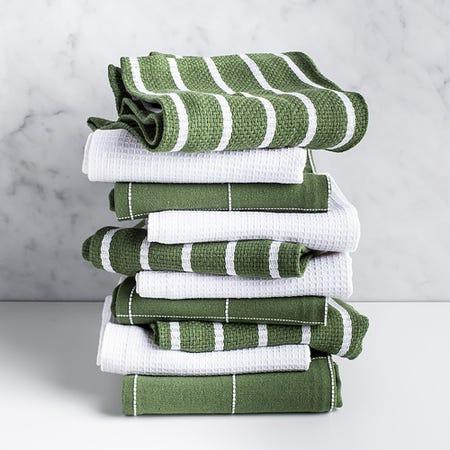 76615_Harman_Multi_Check_100__Cotton_Tea_Towel___Set_of_10__Green