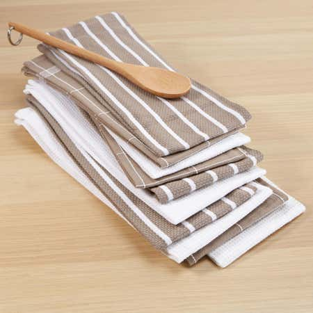 76618_Harman_Multi_Check_100__Cotton_Tea_Towel___Set_of_10__Taupe