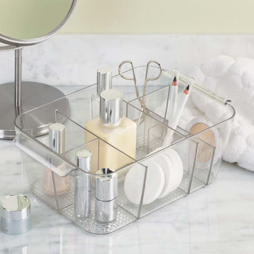 77966_iDesign_Clarity_Divided_Cosmetic_Bin_with_Handles