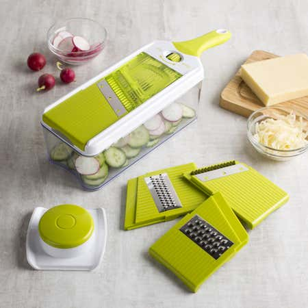 78673_KSP_Chef's_Mate_Mandoline_Slicer_and_Grater___Set_of_7__White_Green