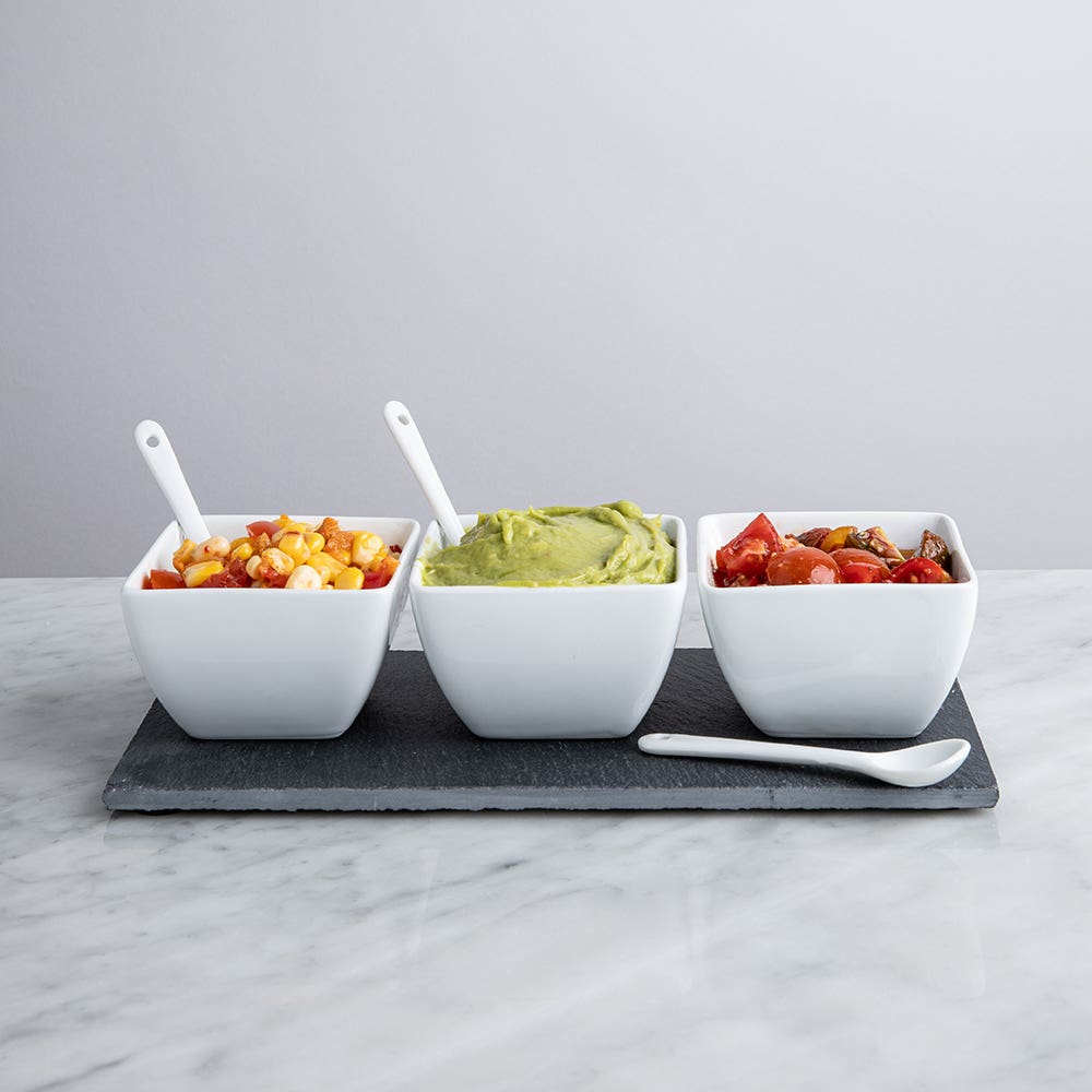 KSP Slate Porcelain Bowls with Tray & Spoons - Set of 7