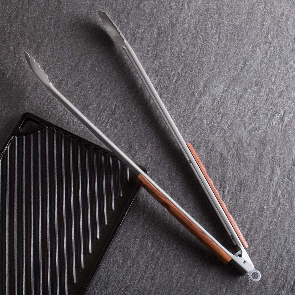 79326_Outset_BBQ_Rosewood_Handle_Tongs__Stainless_Steel