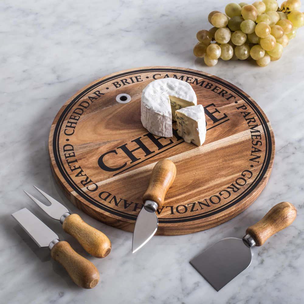 KSP Artisanal Acacia Wood Cheese Board with Knives_80429