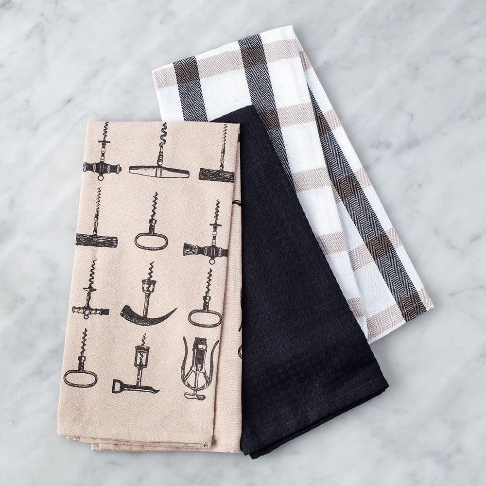 Harman Combo 'Corkscrew' Cotton Kitchen Towel - Set of 3 (Black)