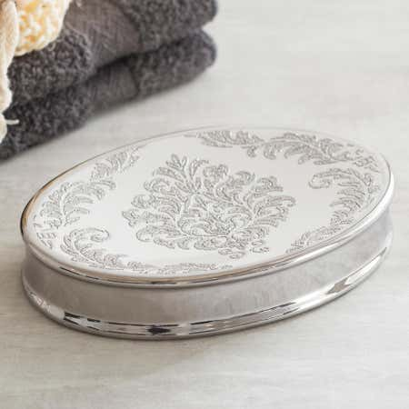82252_Moda_At_Home_Damask_Ceramic_Soap_Dish__White_Silver