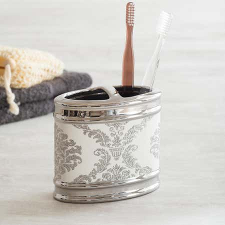 82253_Moda_At_Home_Damask_Ceramic_Toothbrush_Holder__White_Silver