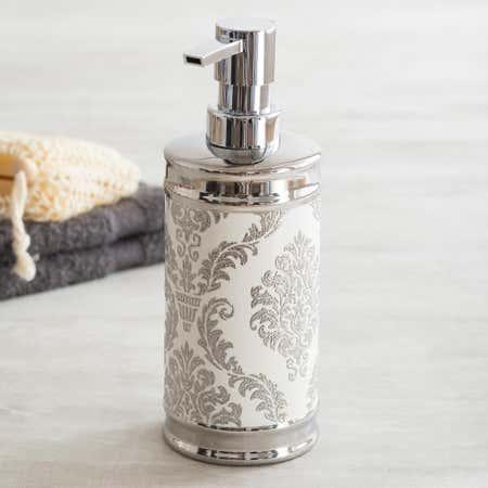 82254_Moda_At_Home_Damask_Ceramic_Soap_Pump__White_Silver