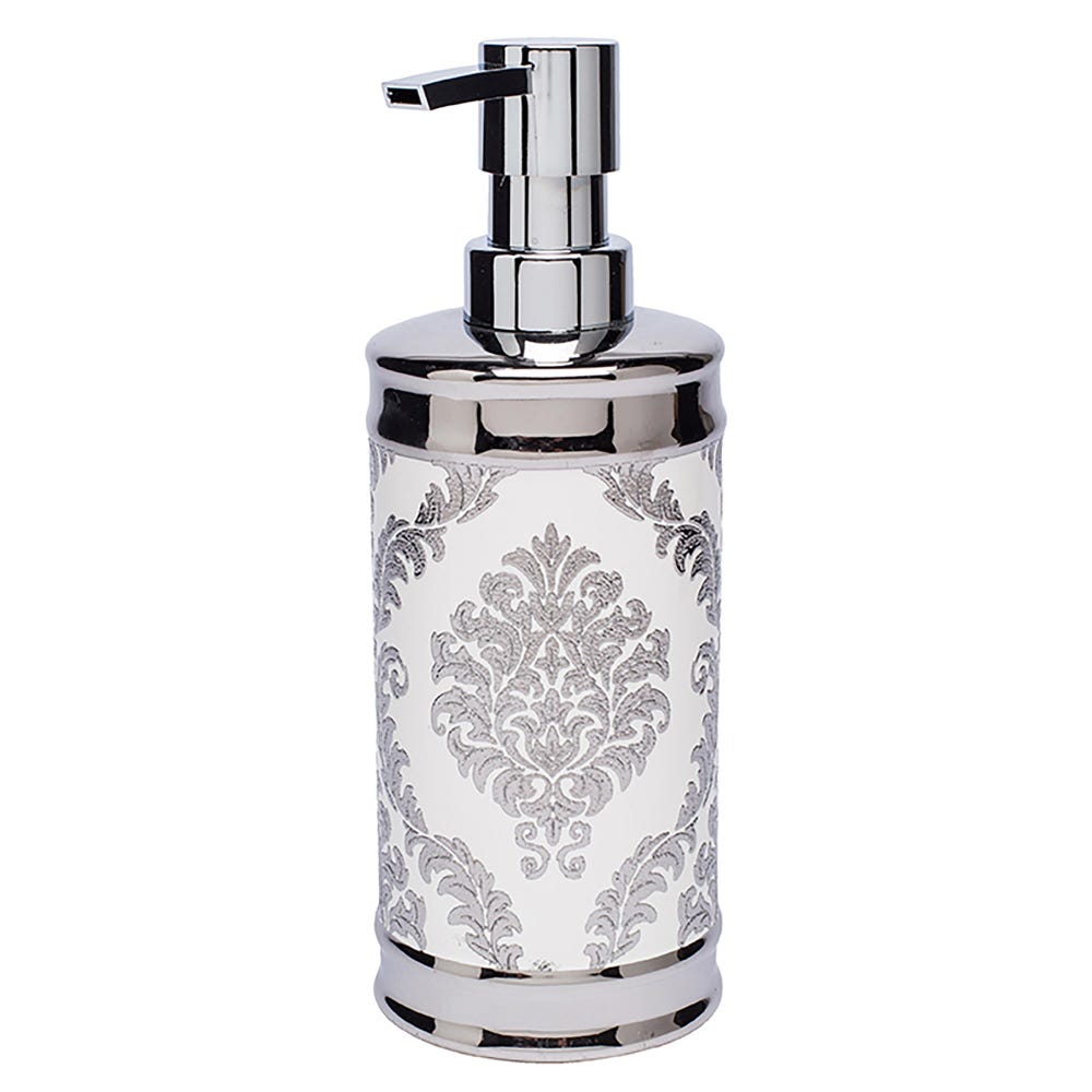 82254_Moda_At_Home_Damask_Ceramic_Soap_Pump__White_Silver