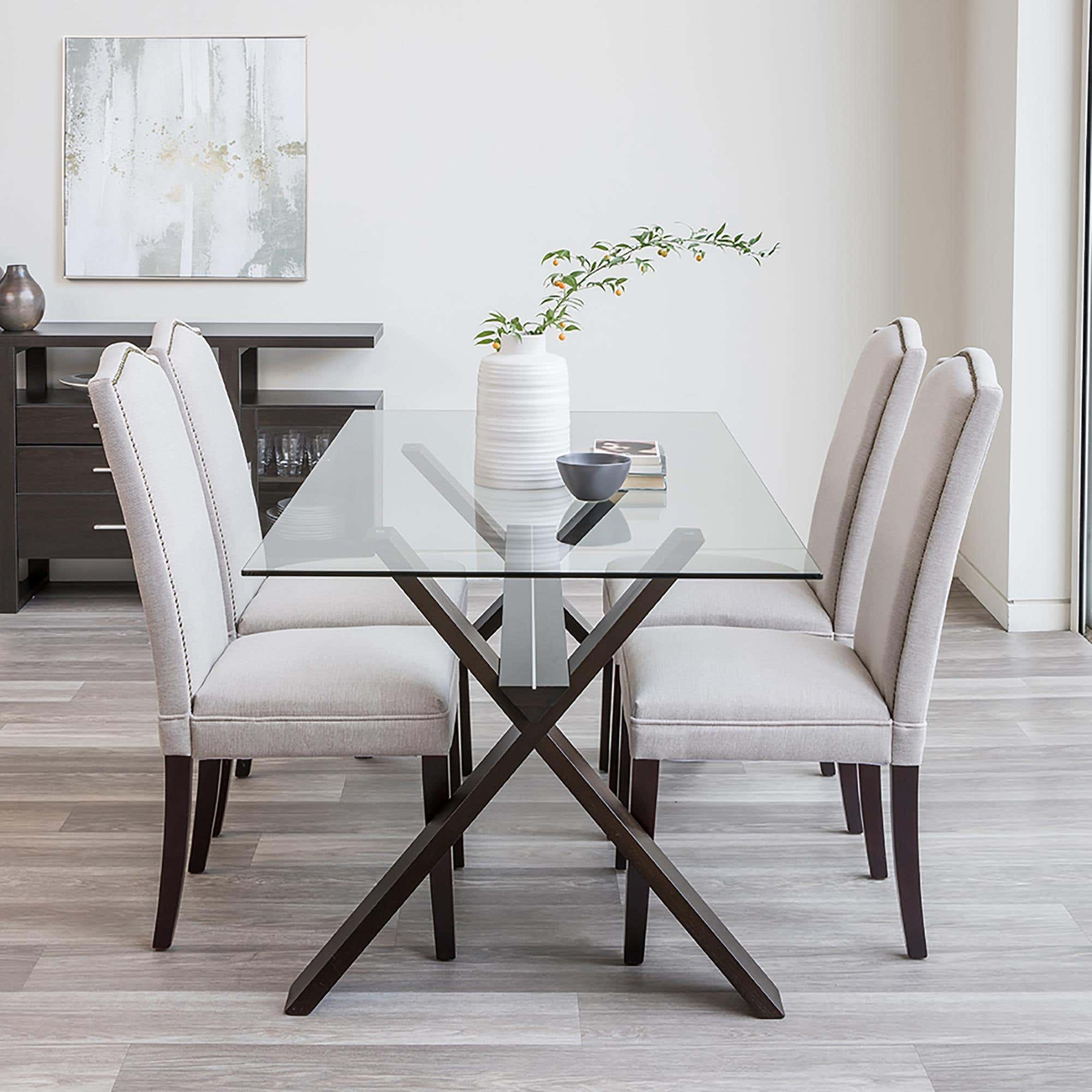 Picture of: Ksp Kona Rectangle Glass Dining Table Walnut Kitchen Stuff Plus
