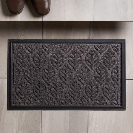 KSP Tufted 'Leaves' Rubber Backed Doormat (Black)
