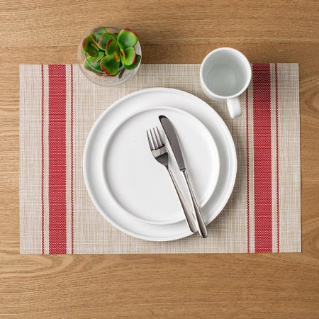 83788_Harman_Textaline_'Bistro_Stripe'_Vinyl_Placemat__Red