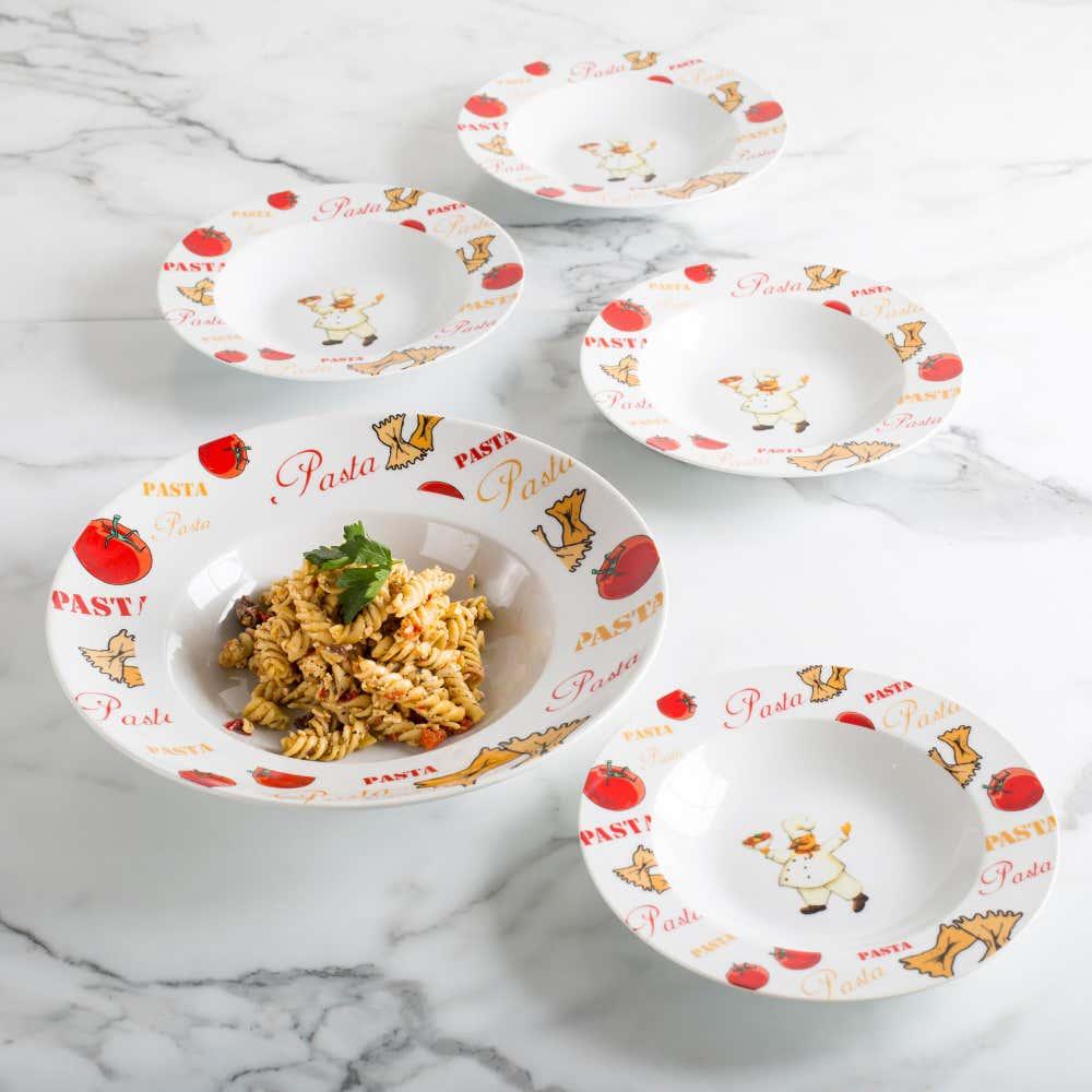 84403_KSP_Tavola_Porcelain_Pasta_Bowl_'Chef_with_Pasta'___Set_of_5