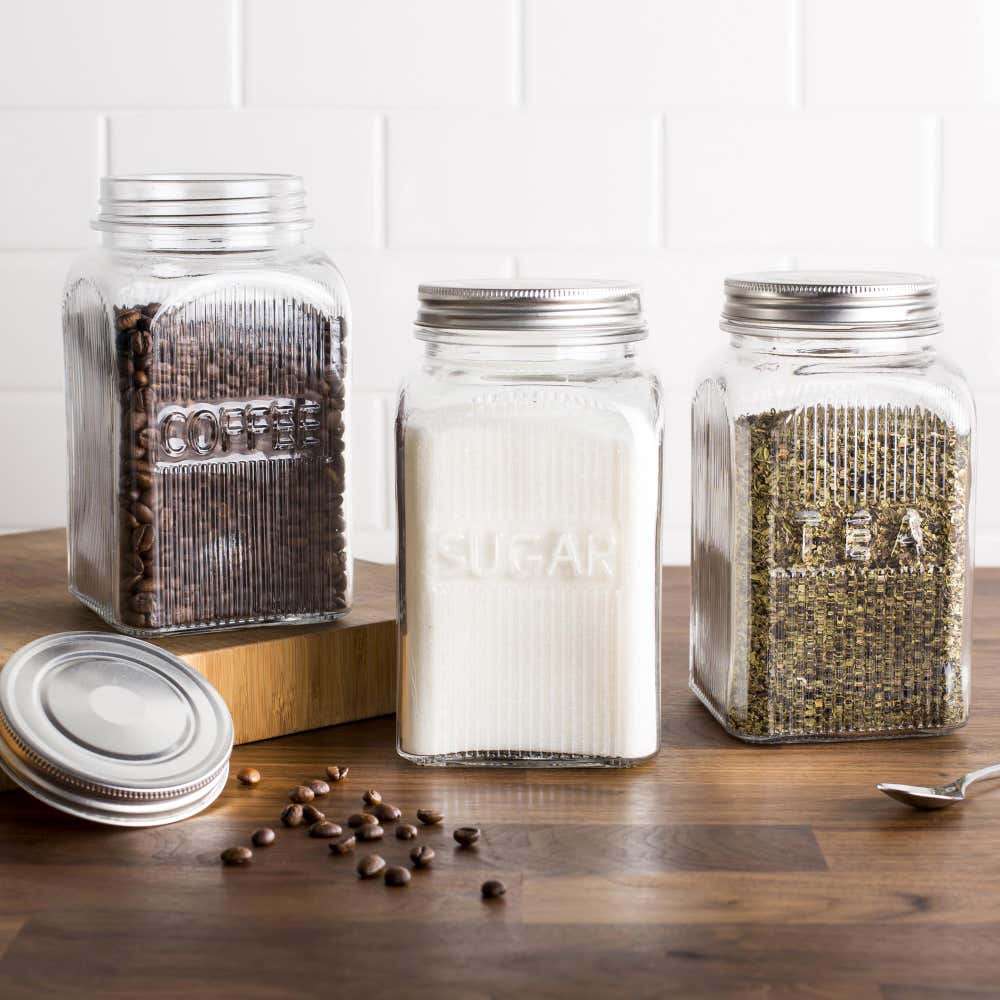 ksp vintage glass canister with lid - set of 3   kitchen stuff plus