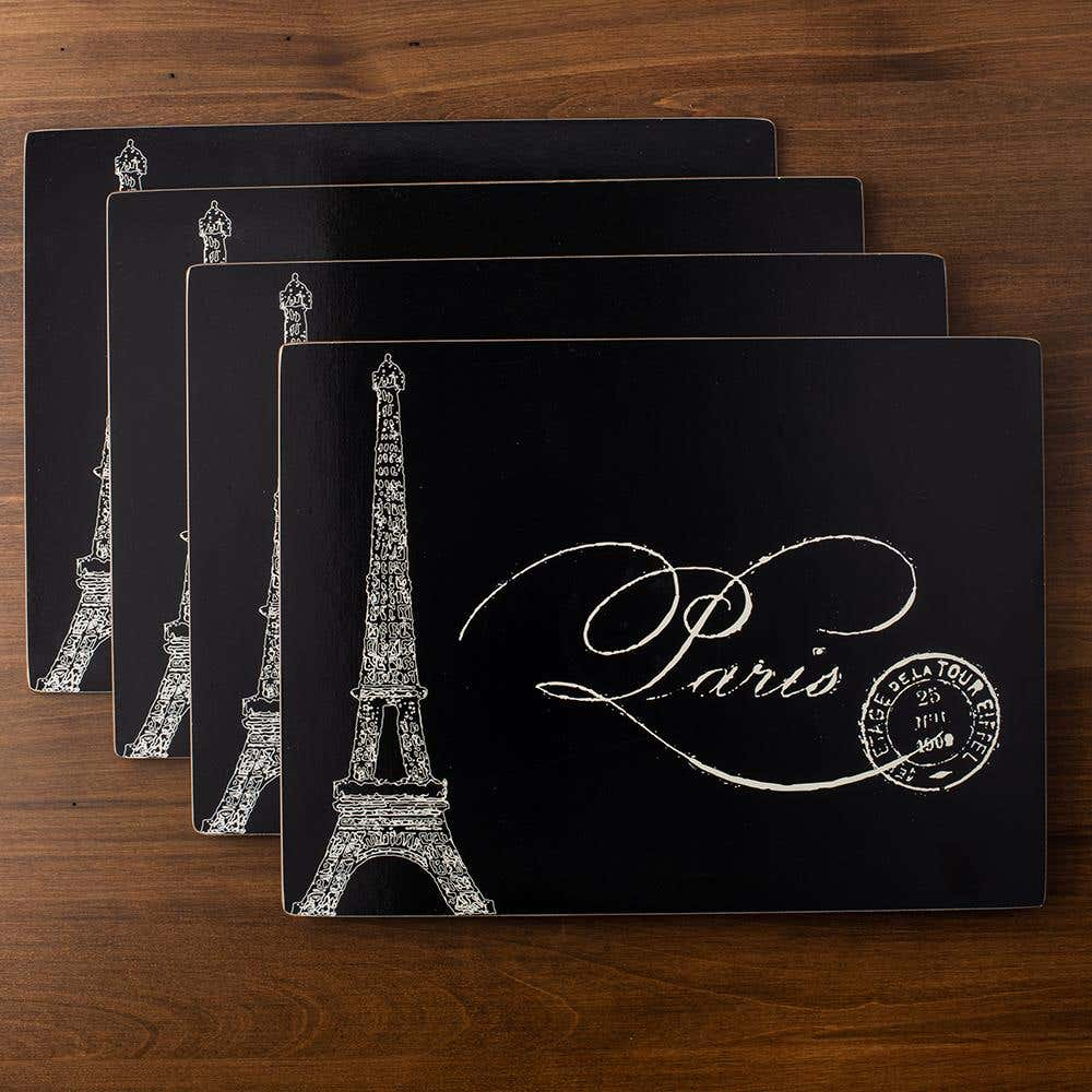 84857_Harman_'Paris_Passport'_Cork_Backed_Placemat___Set_of_4__Black