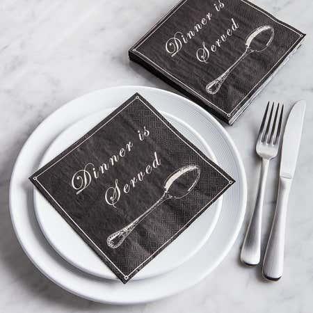 84870_Harman_3_Ply_'Dinner_Is_Served'_Paper_Napkin__Black